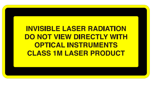 Invisible laser radition class 1M laser product.png